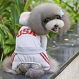 Nalmatoionme - Abrigo de algodón con capucha para perro, con letra estadounidense, color gris