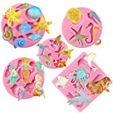Mini Sea Creatures Summer Beach Candy Silicone Mold for Sugarcraft Cake Decoration, Fondant Cupcake Topper, UV Resin Epoxy Jewelry Casting , Polymer Clay Crafting Projects 27-cavity Pack of 5