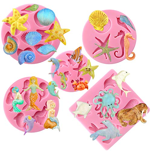 FunshowcaseQQW Mer créatures d'été de plage Thème Candy Moule en silicone pour pâte à sucre, décoration de gâteaux, Fondant, Cupcake, bijoux, polymère, argile, projets créatifs, 5 en Lot