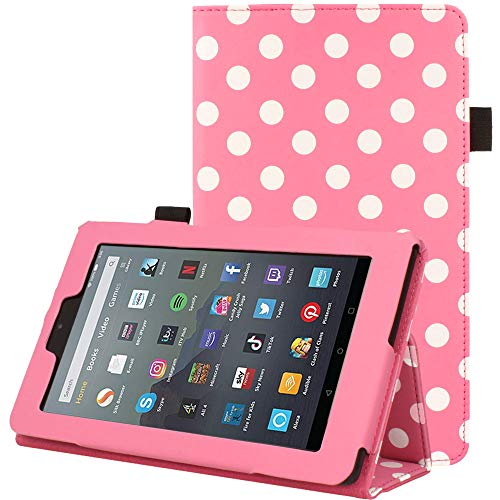 TECHGEAR Case Designed For All New Amazon Fire 7 (9th Generation / 2019 Release) PU Leather Slim Folio Stand Case Cover with Hand Strap [Pink Polka Dot] with Auto Wake/Sleep