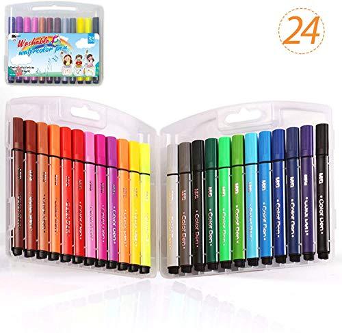KXF カラーペンセット 24色 マーカーペン サインペン 水彩筆水性ペン収納ケース付き 子供 可愛いマーカ 塗り絵 画筆 絵用落書き新学期準備入学 洗たくでおとせる