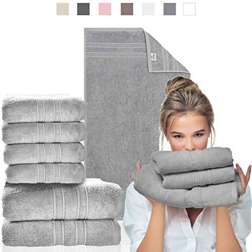 sei Design Toalla Toallas de baño Juego de 6 Piezas Aqua Fibro | 4 Piezas 50x100 + 2 Piezas 70x140 | 100% algodón