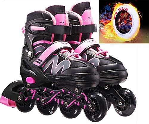 Inline Skates Herren Damen Rollschuhe Quad-Skates Für Erwachsene Kinder | 82A Rollen | ABEC-7 Chrome Kugellager | Verstellbare Atmungsaktive Skates Inlineskates Mit PU Glühräder | Unisex Fitness Skat