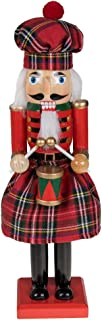 Clever Creations Traditional Scottish Wooden Nutcracker Decoration Red and Green Plaid Nutcracker with Drum   Premium Festive Christmas Decor   15