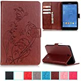 UUcovers Case for Samsung Galaxy Tab 4 7.0 inch Tablet 2014 Cover (SM-T230/T231/T235), Embossed Vintage PU Leather Magnetic Wallet Folio Stand Shell with Pocket Cards Holder, Brown Butterfly Flower
