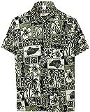 LA LEELA Men's Hibiscus Flower Button Down Short Sleeve Hawaiian Shirt 5XL Black_W403