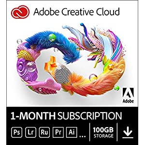 Adobe Creative Cloud | Entire collection of Adobe creative tools plus 100GB storage | 1-month Subscription with auto-renewal, PC/Mac