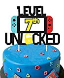 KAPOKKU Level 7th Unlocked Cake Topper for Video Game Theme Gaming Party Birthday Anniversary Celebration