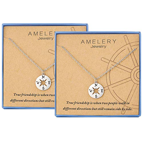 2 Piece Best Friend Gifts Best Friend Necklaces for 2 Sterling Silver Compass Necklace Best Friend Birthday Gifts BFF Necklace for 2 Sister Gifts Graduation Gifts