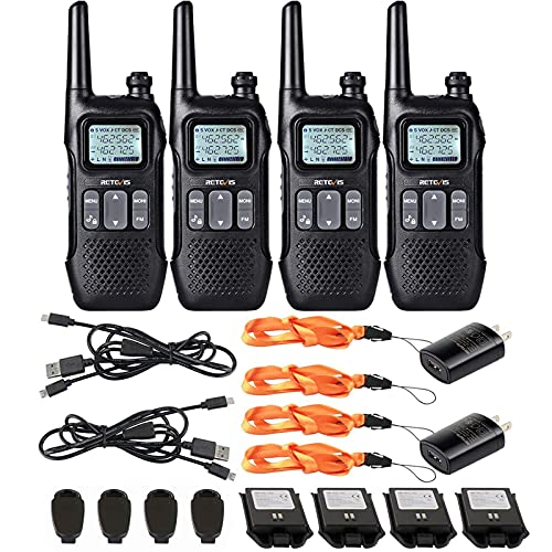 Retevis RT16 Walkie Talkies for Adults,Long Range Rechargeable Two Way Radio,NOAA Weather Alert VOX,with 1000mAh Li-ion Battery and Lanyard,for Camping Hiking Outdoor Indoor(4 Pack)