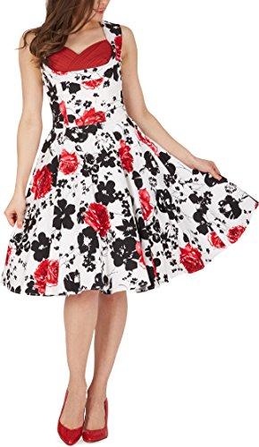 BlackButterfly 'Aura' Classic Serenity Kleid im 50er-Jahre-Stil (Weiß & Rot, EUR 36 - XS)
