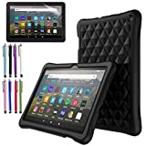 EpicGadget Case for Amazon Fire HD 8 / Fire HD 8 Plus (10th Generation, 2020 Released) - Soft Lightweight Diamond Grid Protective Silicone Cover Case + 1 Stylus and 1 Screen Protector (Black)