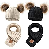 4 Pieces Toddler Winter Warm Knit Scarves and Beanies Kids Neck Warmer Scarf Twist Double Pom Pom Knitted Hat Newborn Crochet Hat Faux Fur Pompom Skull Cap for 0-36 Month Baby Girls Boys (Set of 2)