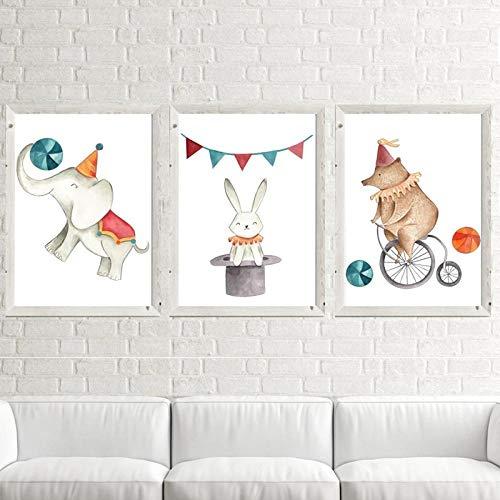 Creativo Circo Animales Oso Elefante Ratón Montar Bicicleta Pintura Decorativa Dormitorio de los niños Sala de Estar Imagen Lienzo | 40x60cmx3 Sin Marco