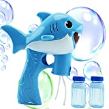 Toysery Shark Bubble Gun for Kids, Light-Up Bubble Blaster Toy with Easy Refill Bubble Solution, Lights and Sound, Perfect Bubble Machine Toy for Toddlers Boys, Girls, Outdoor Activities and More
