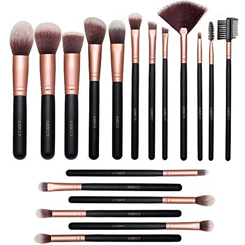 Pinceaux Maquillages 18 PCS Set Pinceaux Maquillage Rose Doré Pinceaux Maquillages Synthétiques Haut De Gamme pour fond De Teint Mélange Poudre pour Le Visage Blush Concealers Ombres à Paupières