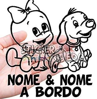 Bimbo a bordo adesivo auto. adesivo bimbo e cane a bordo con nome adesivo bebè per auto