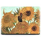 Mertak Hard Case for Apple MacBook Pro 16 Air 13 inch Mac 15 Retina 12 11 2020 2019 2018 2017 Girl Women Sunflowers Clear Protective Cover Art Floral Van Gogh Print Painting Design Touch Bar Vase