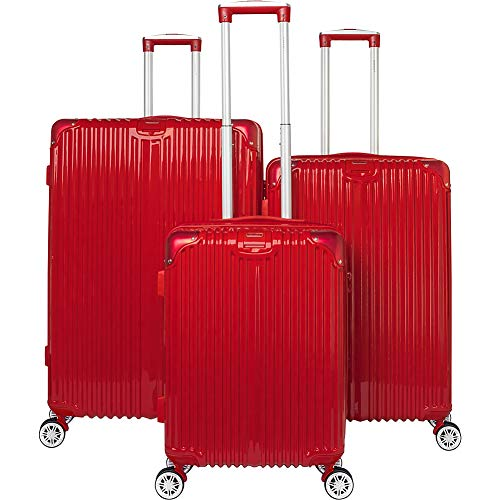 Gabbiano The Macan 3 Piece Expandable Hardside Spinner Luggage Set (Red)