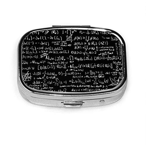Cajas de píldoras de matemáticas, estuche portátil rectangular de metal plateado, compacto 2 espacio, estuches de píldoras para viaje/bolsillo/bolso