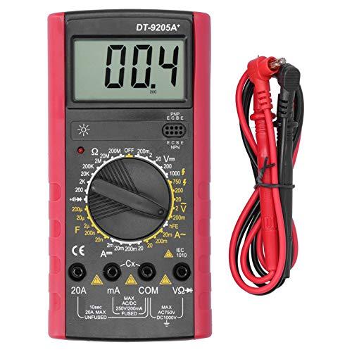 DT9205A + Multimeter, LCD Digital DC/AC-Spannung Stromwiderstand Kapazitätsfrequenztester mit LCD-Anzeige und hoher Genauigkeit