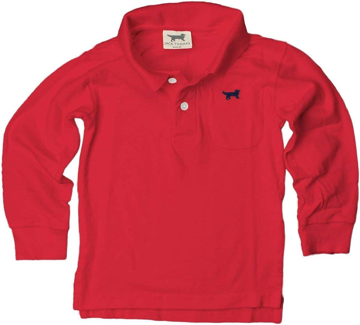 Jack Thomas Boys Long Sleeve Polo-Red
