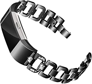 Mtozon Bands Compatible with Fitbit Charge 2, Metal Bands with Rhinestone Bling Replacement Bractlet Women Silver Rose Gold Black