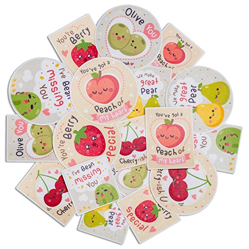 Navy Peony Silly Berry Fruit Sticker Set (18-Pack) - Waterproof, Durable, Love Themed | Square, Vertical Stickers for Planners | Big, Round Decals for Laptops, Water Bottles