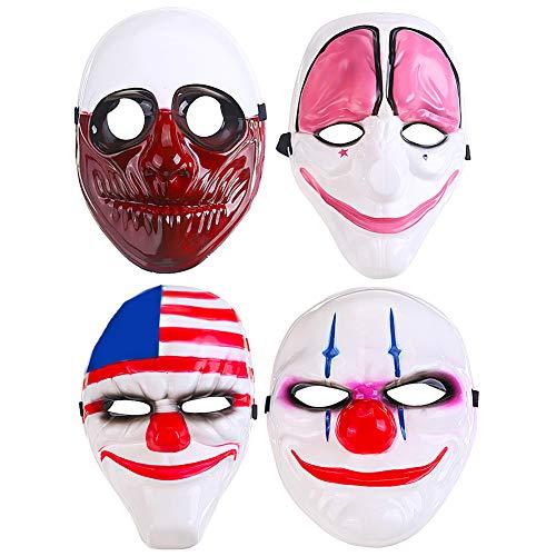 Maschera Clown Horror Spaventoso BESTZY 4pcs Clown Puntelli Carnevale Halloween Costume Cosplay