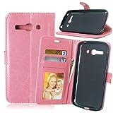 JEEXIA Funda para Alcatel OneTouch Pop C9, Moda Business Flip Wallet Case Cover PU Cuero con Soporte Cubierta Protectora - Rosa