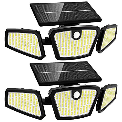 Luce Solare LED Esterno - 350Led Faretti Solari a LED da Esterno 3 Testa, IP65 Impermeabile con Sensore di Movimento, Lampade Solari da Giardino 3 Modalità 270°Illuminazione Grandangolare per Cortile