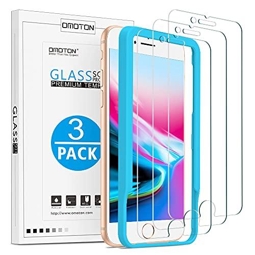 OMOTON [3 Stück] Schutzfolie kompatibel für iPhone SE 2020/iPhone 7/8, 9H Härte, Anti-Kratzen, Anti-Öl, Anti-Bläschen