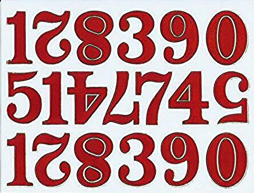 (シャシャン)XIAXIN 防水 ラメ PVC製 数字 ナンバー ステッカー セット 耐候 耐水 ローマ字 キャラクター 表札 スーツケース ネームプレート ロッカー 屋内外 兼用 TSS-600 (レッド)