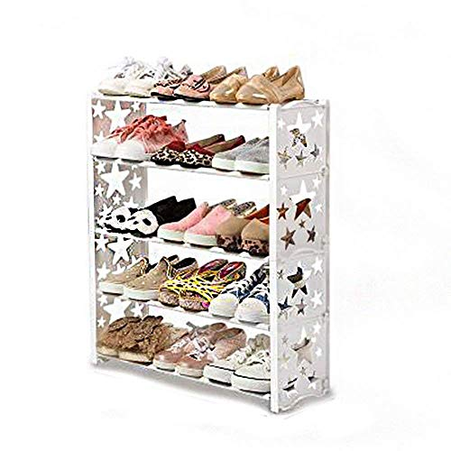 DXMRWJ Estante para Zapatos de 4 Niveles con Capacidad para 15 Pares de Zapatos, Estante para Zapatos, gabinete Organizador, Estante para Zapatos, estantes apilables (Color: Blanco)