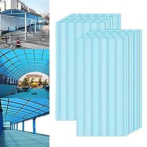Froadp 14 Piezas Láminas de Policarbonato Celular Plástico Resistente UV-Rayos Accesorios de Doble Ranura para Plantas Cultivos Sistemas de Carpas de Invernadero de Jardín(605x1210x4mm, Azul)