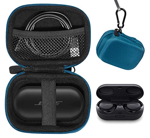 CaseSack case for Bose Sport Earbuds and QuietComfort Noise Cancelling Earbuds - True Wireless Earphones, Mesh Accessories Pocket, Compact Consolidation Carrying case (Blue)