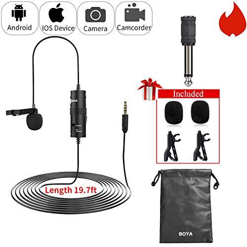 19 ft Lavalier Microphone Smartphone Vlog, BOYA by-M1 Omnidirectional Lapel Mic...