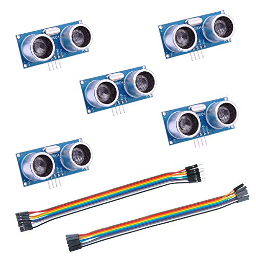 ELEGOO - 5 Stück HC-SR04 Ultraschall Sensor Distanzsensor für Arduino UNO, MEGA2560, Nano, Roboter, XBee, ZigBee usw.