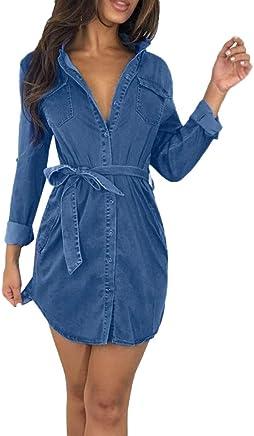 cef7ac68e2a Fashion99 Women Button Down Denim Dress Ladies Belted Jeans Long Top Shirt  Dress