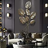 Metal Wall Decoration, Tree of Life with Gold Leaves Wall Decor Metal Art, for Indoor Outdoor Home Bedroom Living Room Office Garden, 66×120×3cm