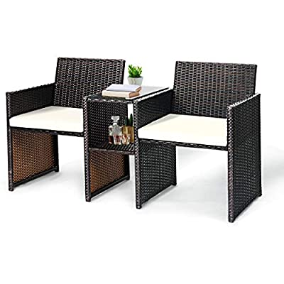 Tangkula Outdoor Furniture Set Paito Conversation Set with Remoable Cushions & Table Wicker Modern Sofas for Garden Lawn Backyard Outdoor Chat Set (Sofa Style)