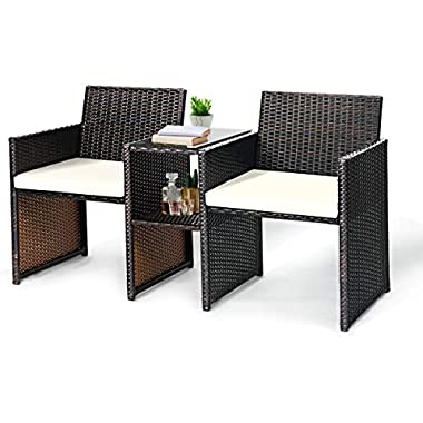 Tangkula Outdoor Furniture Set Paito Conversation Set with Removable Cushions & Table Wicker Modern Sofas for Garden Lawn Backyard Outdoor Chat Set (Sofa Style)