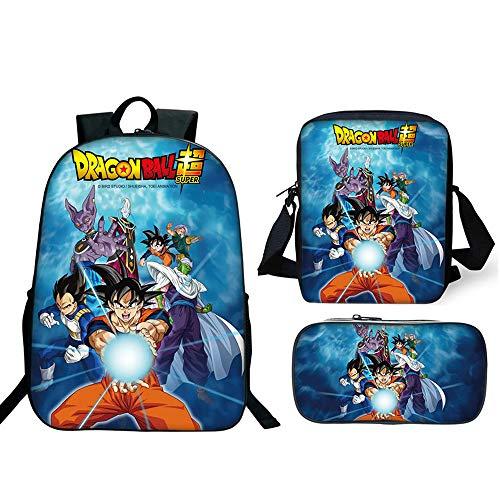 Mochila Dragon Ball Escolar, Dragon Ball Z Mochilas Escolares Juveniles para Niños Infantil Adolescentes Sets de Mochila con Bolsa de Hombro y Estuche de Lápices Mochilas y Bolsas Escolares (1)