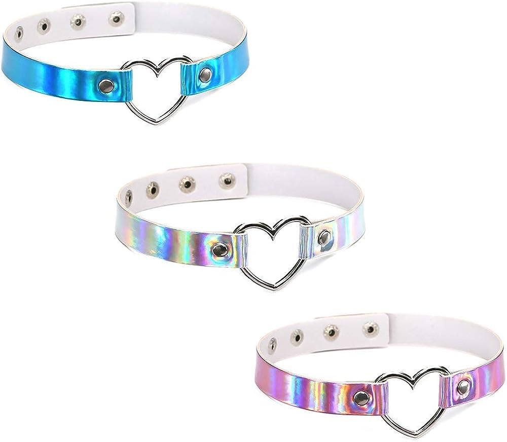 Soldering Jurxy 3PCS Heart Choker Necklace trust Goth w Collar PU Leather