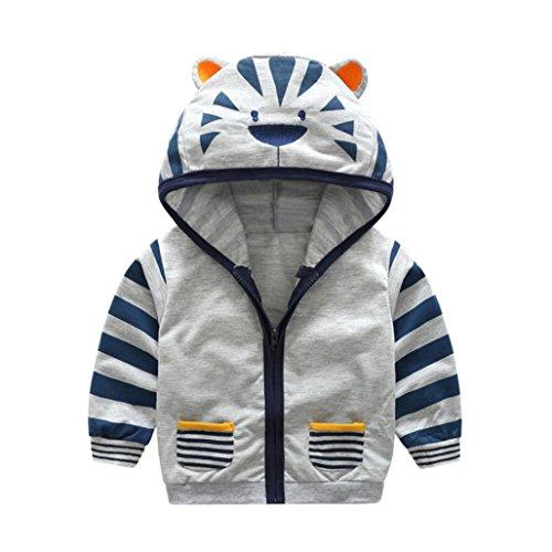 Baby Daunenjacke, Dragon Infant Kinder Jungen Mädchen Mit Kapuze Reißverschluss Mantel Cartoon Tier Warme Oberteile Kleidung Mantel (12M, Grau)