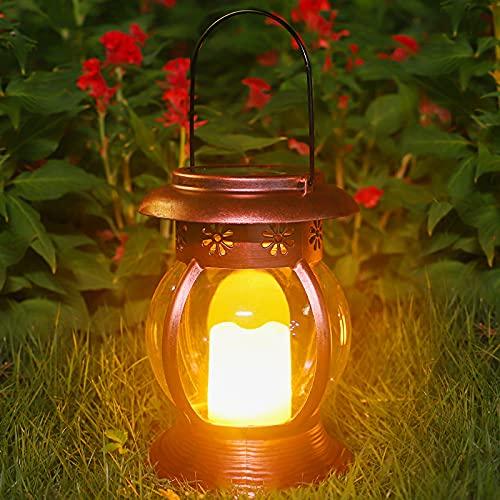 Farol Solar Exterior, ANTING LED Linterna Solar Jardín Impermeable Portátil Lámpara con Vela Efecto de Luz Intermitente Sin Llama Luz Decorativa Retro para Mesa Terraza Balcón Porche Patio Parque