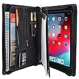 XIAOZHI'Zipper Leather Portfolio with Removable Tablet Holder, Organizer Tablet Portfolio Case, for 10.5'' iPad Pro/iPad Air 3rd', Black (XZ1901Q-IP105-BK)
