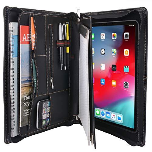 "XIAOZHI""Zipper Leather Portfolio with Removable Tablet Holder, Organizer Tablet Portfolio Case, for 10.5"""" iPad Pro/iPad Air 3rd"", Black (XZ1901Q-IP105-BK)"