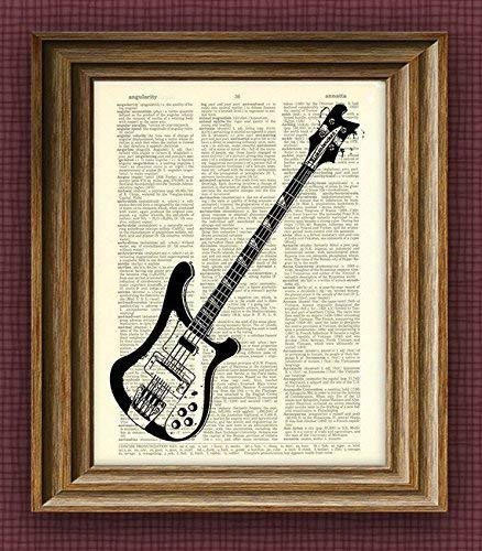 Rickenbacker Electric Bass Guitar Ricky Illustration Beautifully Upcycled...