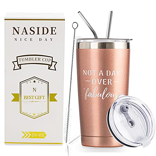 Not A Day Over Fabulous,20 Oz Stainless Steel Tumbler Cups with Straw 21st 30th 40th 50th 60th 65th 70th birthday gifts for women Grandma Woman Mom Best Friend ideas-NASIDE-Rose Gold